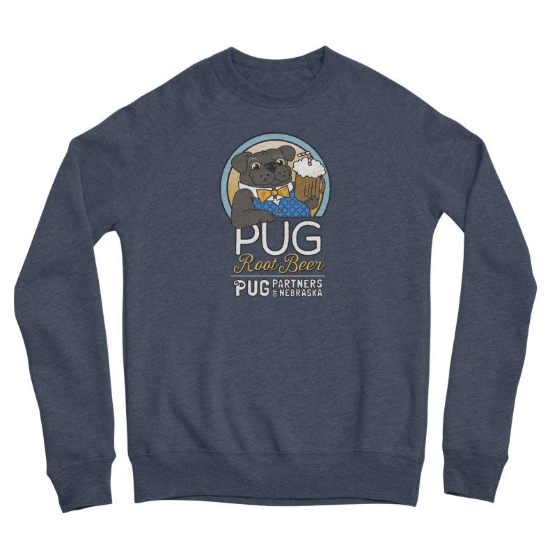 Pug Root Beer - Blue Women's Sponge Fleece Sweatshirt by Pug Partners of Nebraska