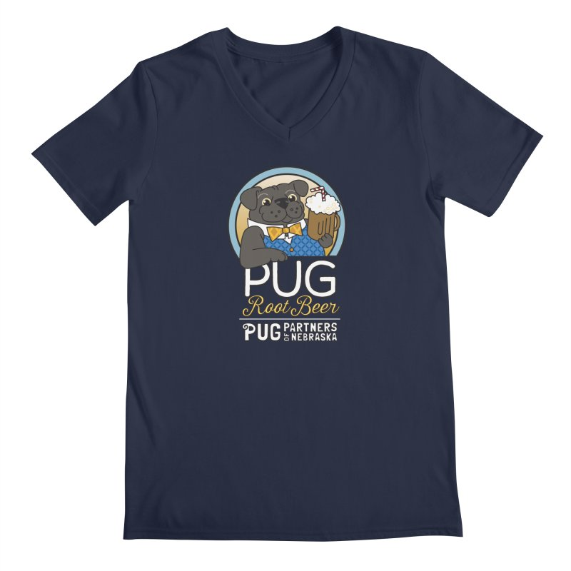 Pug Root Beer - Blue Men's V-Neck by Pug Partners of Nebraska