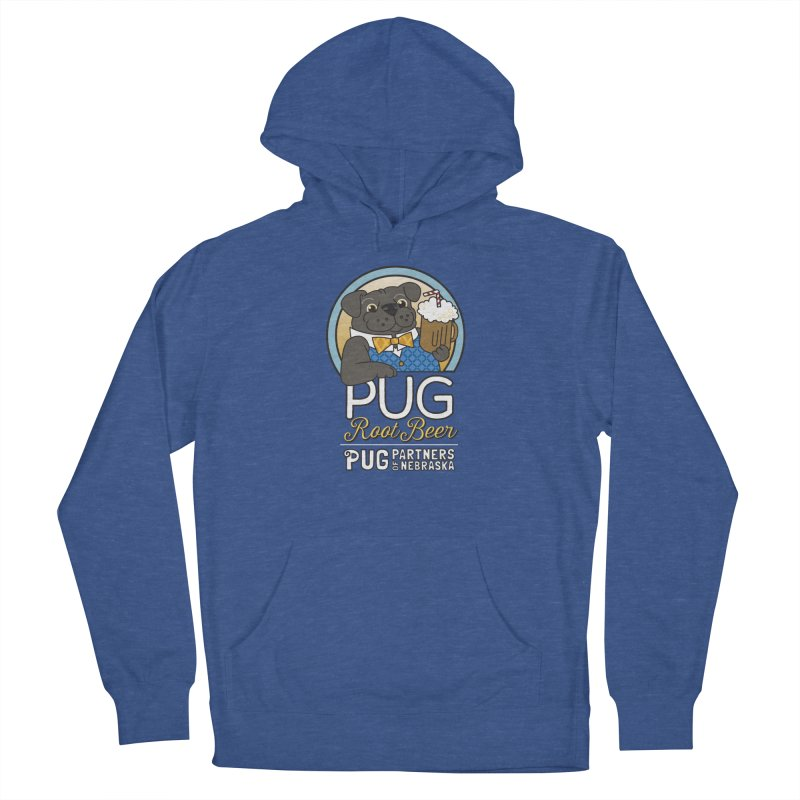 Pug Root Beer - Blue Men's French Terry Pullover Hoody by Pug Partners of Nebraska