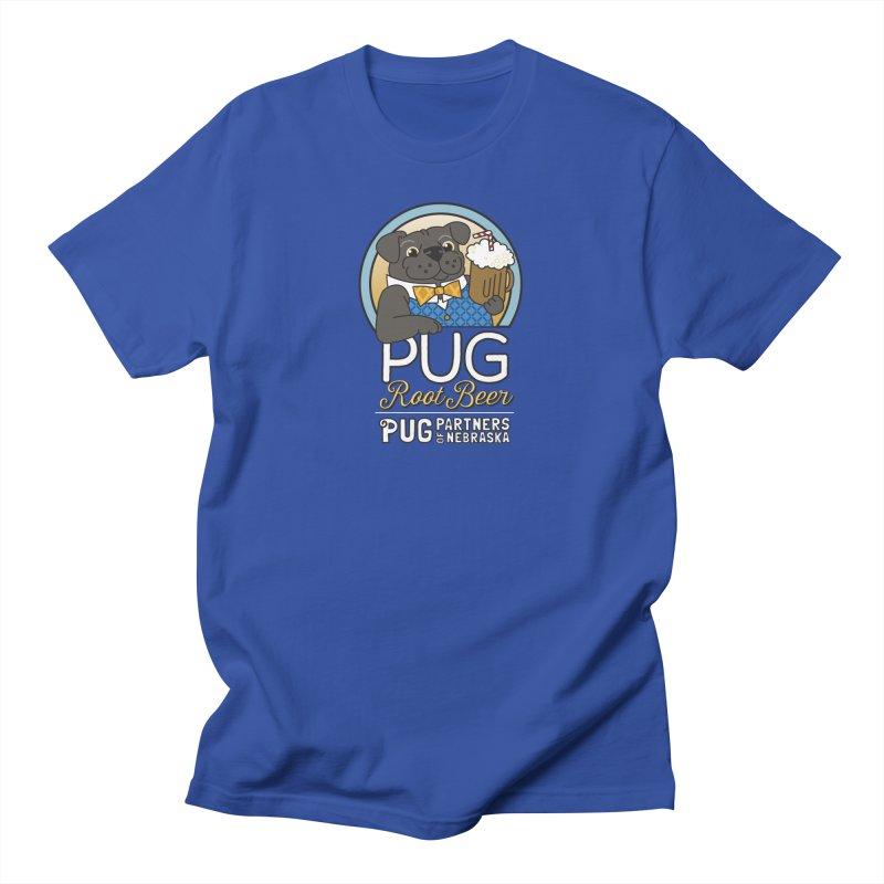 Pug Root Beer - Blue Men's T-Shirt by Pug Partners of Nebraska