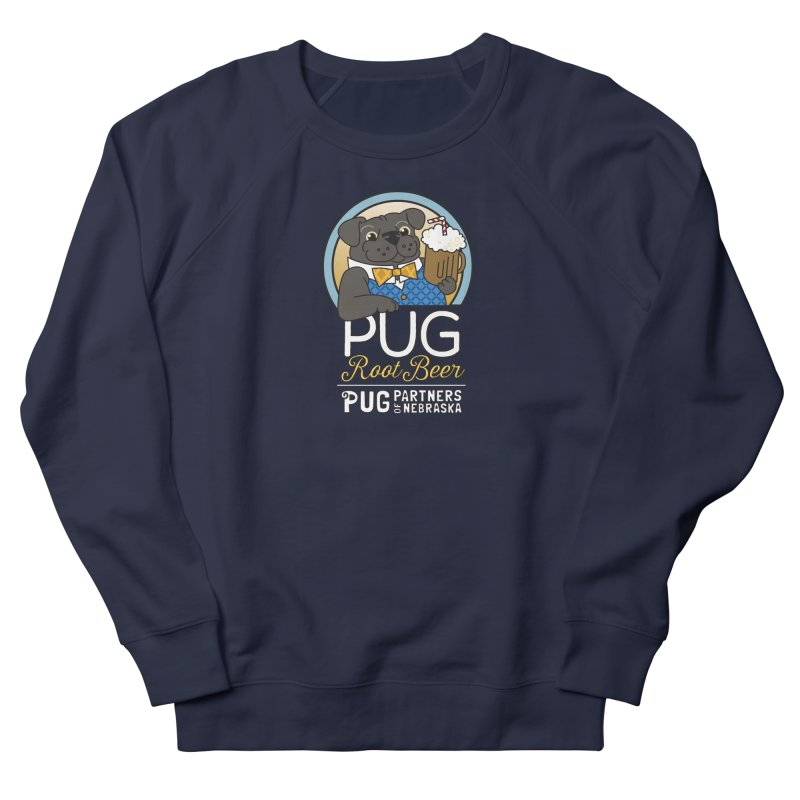 Pug Root Beer - Blue Men's French Terry Sweatshirt by Pug Partners of Nebraska