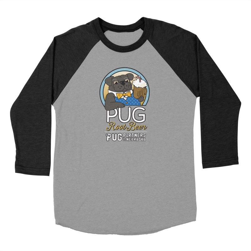 Pug Root Beer - Blue Men's Baseball Triblend Longsleeve T-Shirt by Pug Partners of Nebraska