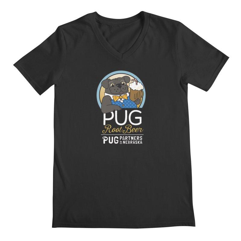 Pug Root Beer - Blue Men's Regular V-Neck by Pug Partners of Nebraska