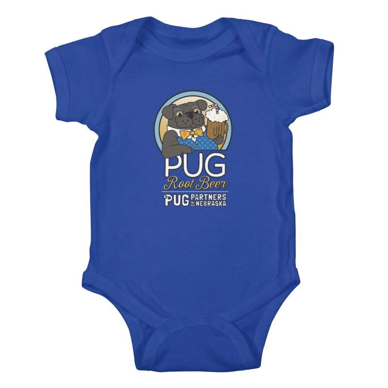 Pug Root Beer - Blue Kids Baby Bodysuit by Pug Partners of Nebraska