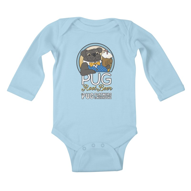 Pug Root Beer - Blue Kids Baby Longsleeve Bodysuit by Pug Partners of Nebraska