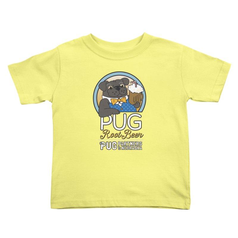 Pug Root Beer - Blue Kids Toddler T-Shirt by Pug Partners of Nebraska