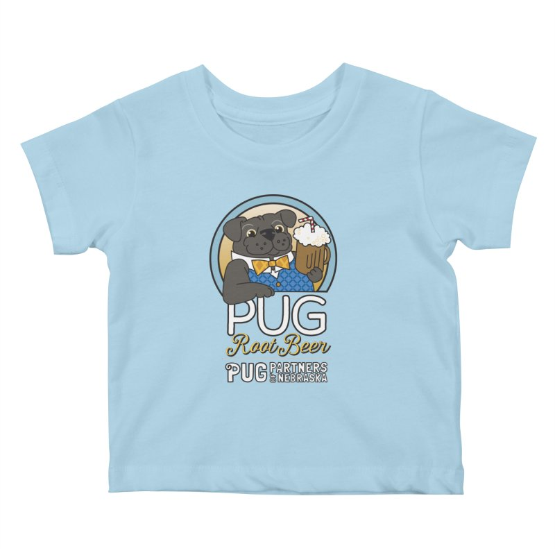 Pug Root Beer - Blue Kids Baby T-Shirt by Pug Partners of Nebraska