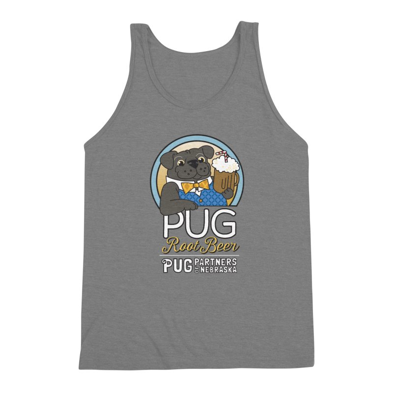 Pug Root Beer - Blue Men's Triblend Tank by Pug Partners of Nebraska