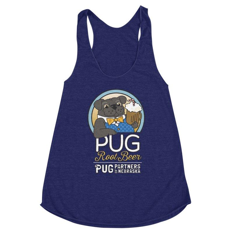 Pug Root Beer - Blue Women's Racerback Triblend Tank by Pug Partners of Nebraska