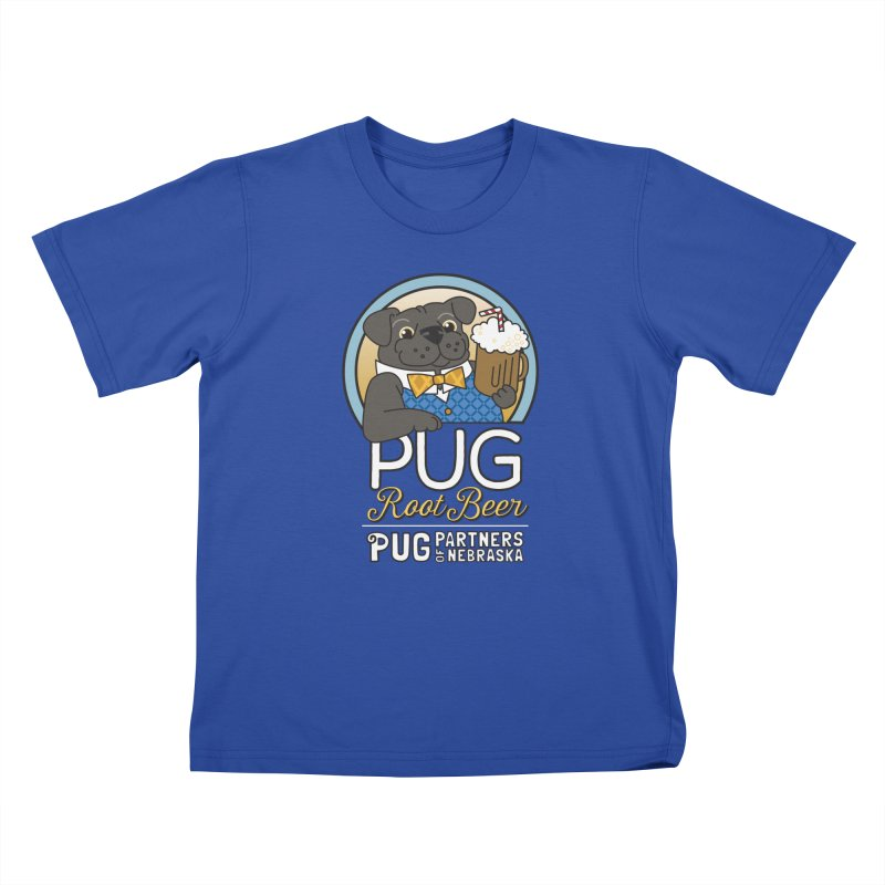 Pug Root Beer - Blue Kids T-Shirt by Pug Partners of Nebraska