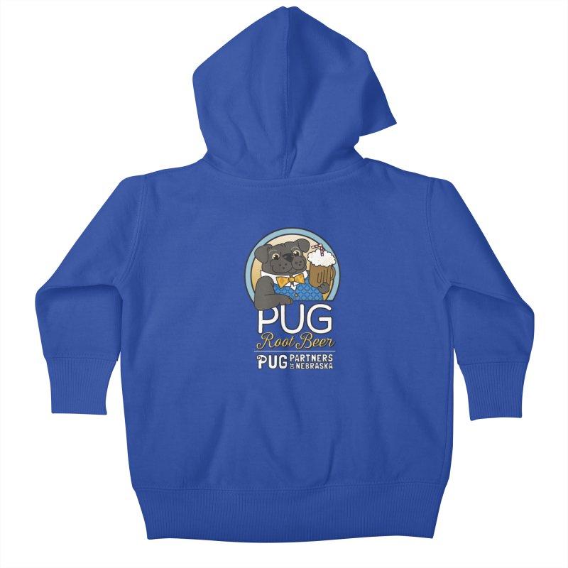 Pug Root Beer - Blue Kids Baby Zip-Up Hoody by Pug Partners of Nebraska