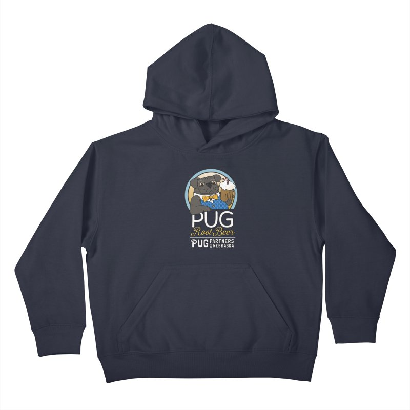 Pug Root Beer - Blue Kids Pullover Hoody by Pug Partners of Nebraska