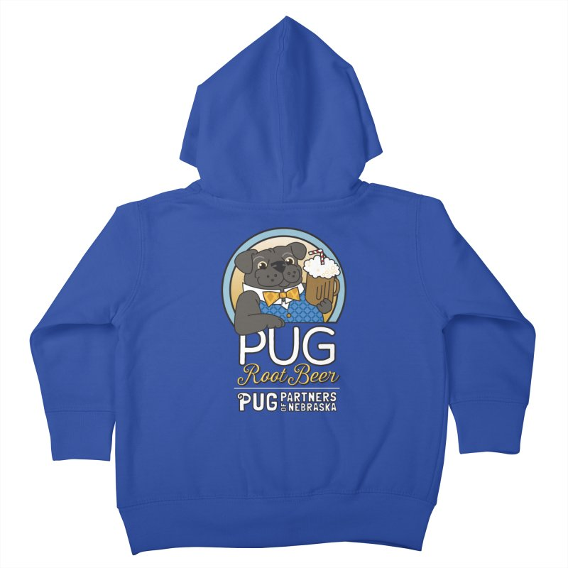 Pug Root Beer - Blue Kids Toddler Zip-Up Hoody by Pug Partners of Nebraska