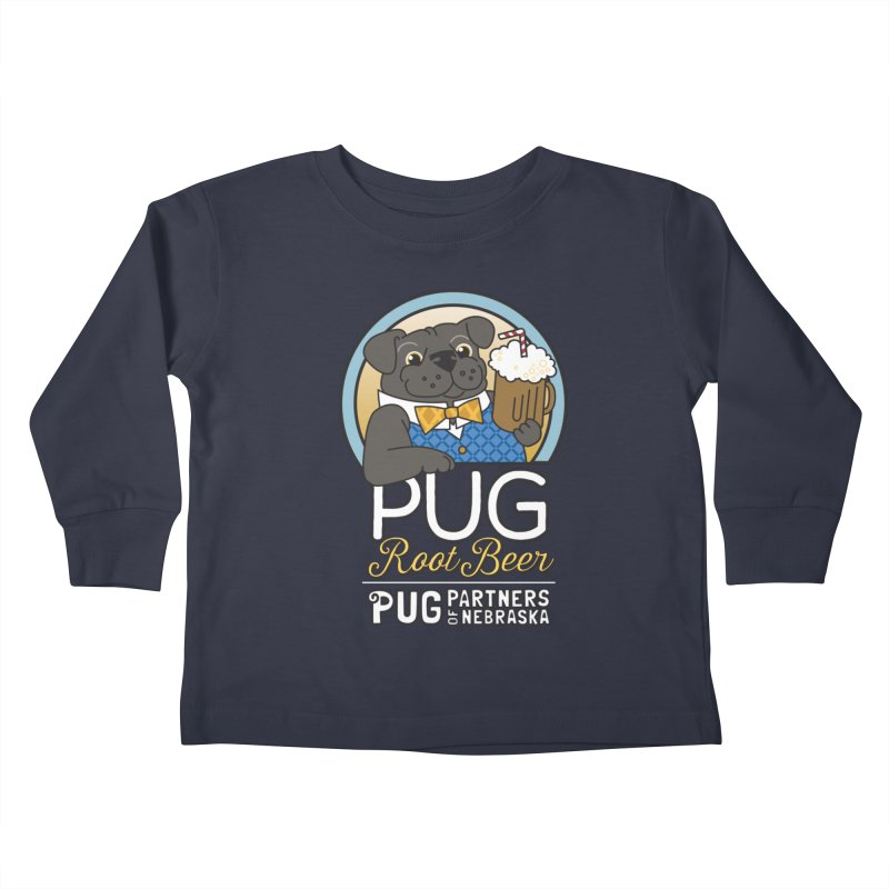 Pug Root Beer - Blue Kids Toddler Longsleeve T-Shirt by Pug Partners of Nebraska