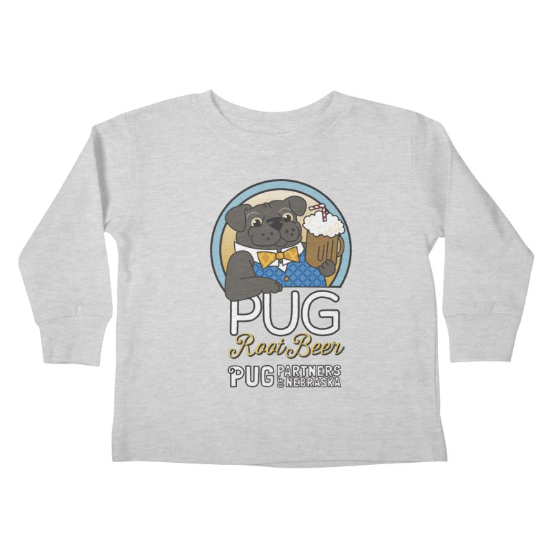 Pug Root Beer - Blue Kids Toddler Longsleeve T-Shirt by Pug Partners of Nebraska