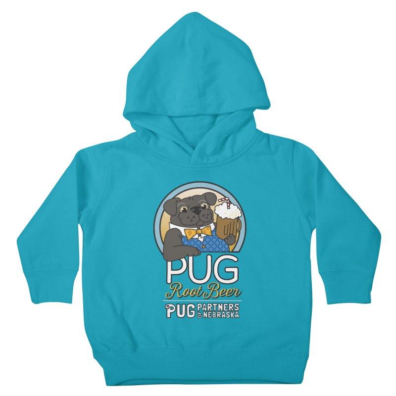 Pug Root Beer - Blue Kids Toddler Pullover Hoody by Pug Partners of Nebraska