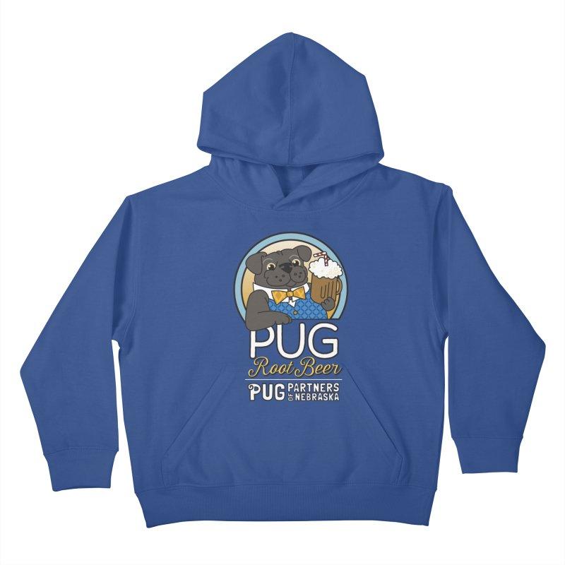 Pug Root Beer - Blue Kids Pullover Hoody by Pug Partners of Nebraska