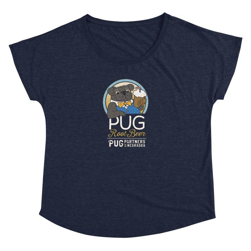 Pug Root Beer - Blue Women's Dolman Scoop Neck by Pug Partners of Nebraska