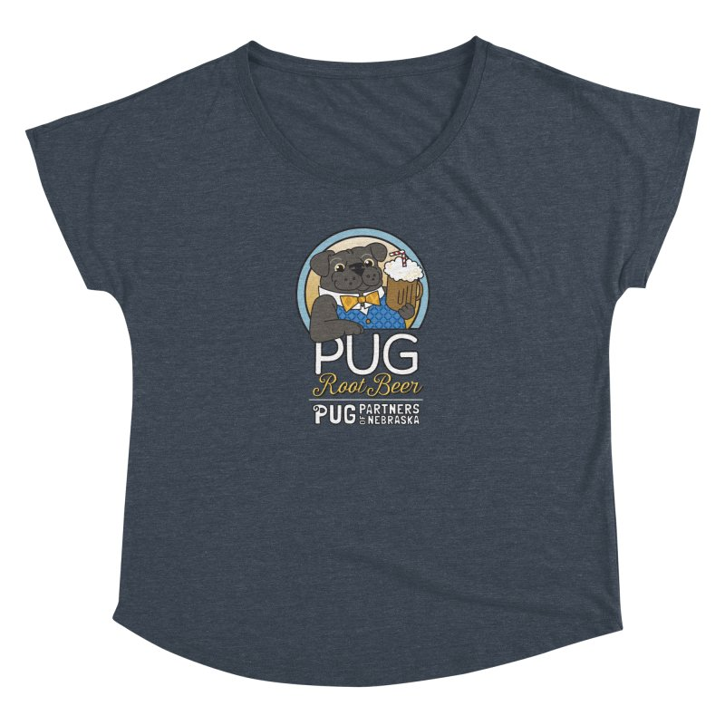 Pug Root Beer - Blue Women's Dolman Scoop Neck by Pug Partners of Nebraska