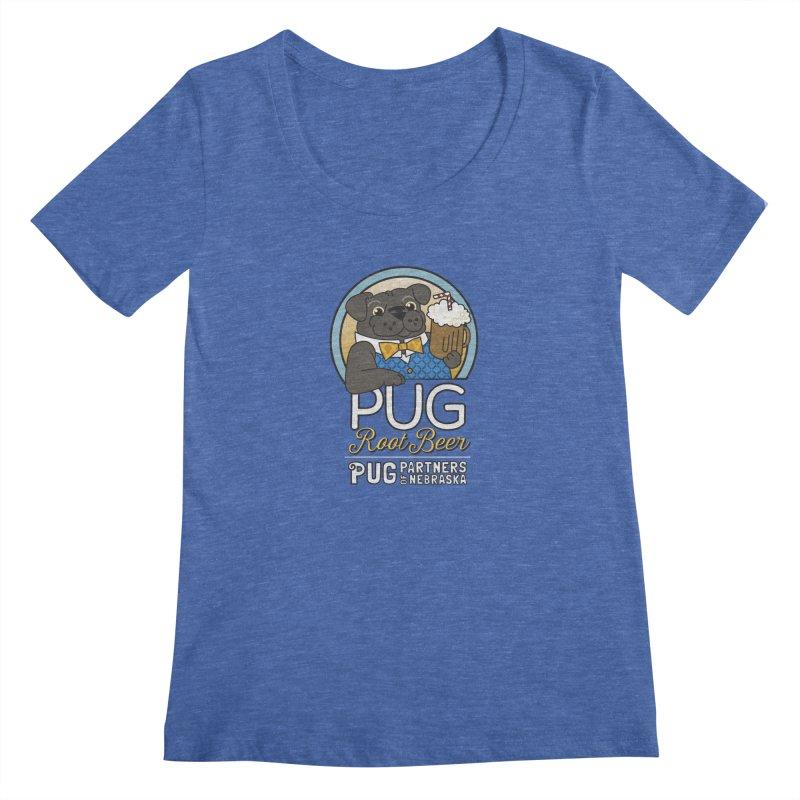 Pug Root Beer - Blue Women's Regular Scoop Neck by Pug Partners of Nebraska