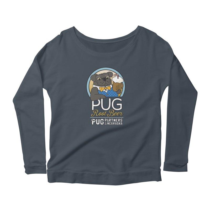 Pug Root Beer - Blue Women's Scoop Neck Longsleeve T-Shirt by Pug Partners of Nebraska