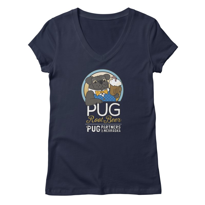 Pug Root Beer - Blue Women's Regular V-Neck by Pug Partners of Nebraska