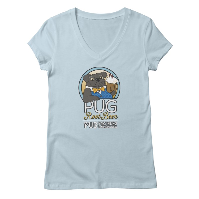 Pug Root Beer - Blue Women's V-Neck by Pug Partners of Nebraska