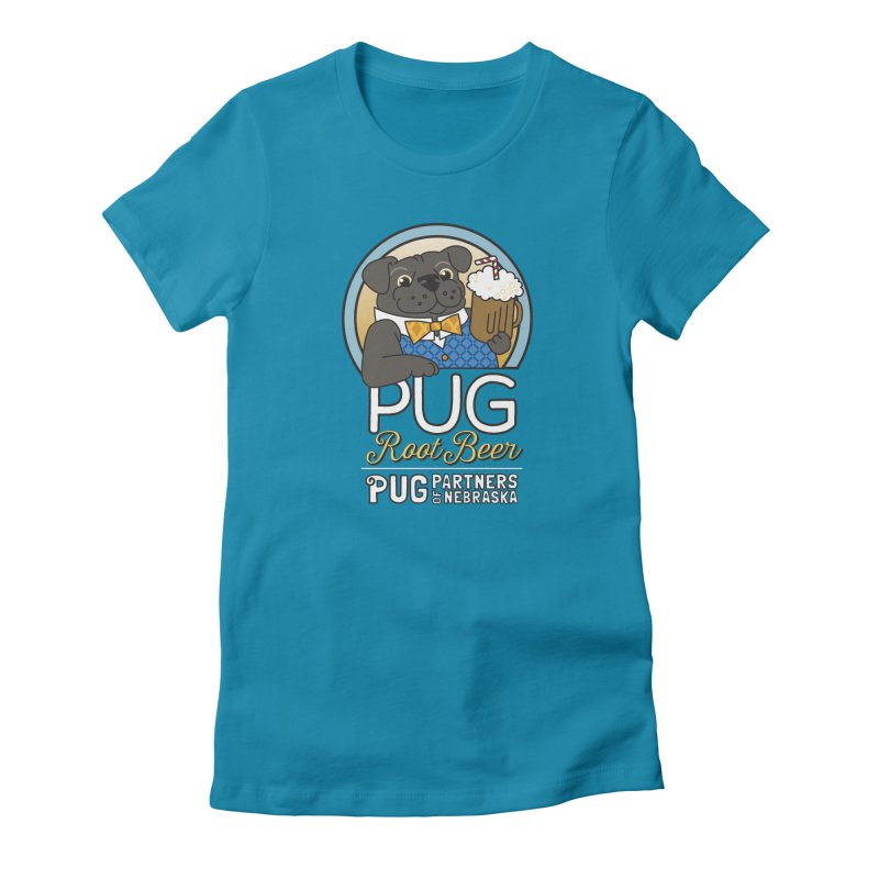 Pug Root Beer - Blue Women's Fitted T-Shirt by Pug Partners of Nebraska
