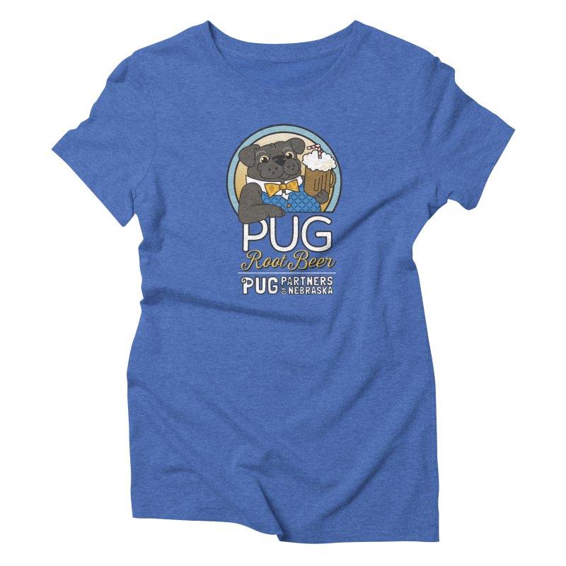 Pug Root Beer - Blue Women's Triblend T-Shirt by Pug Partners of Nebraska