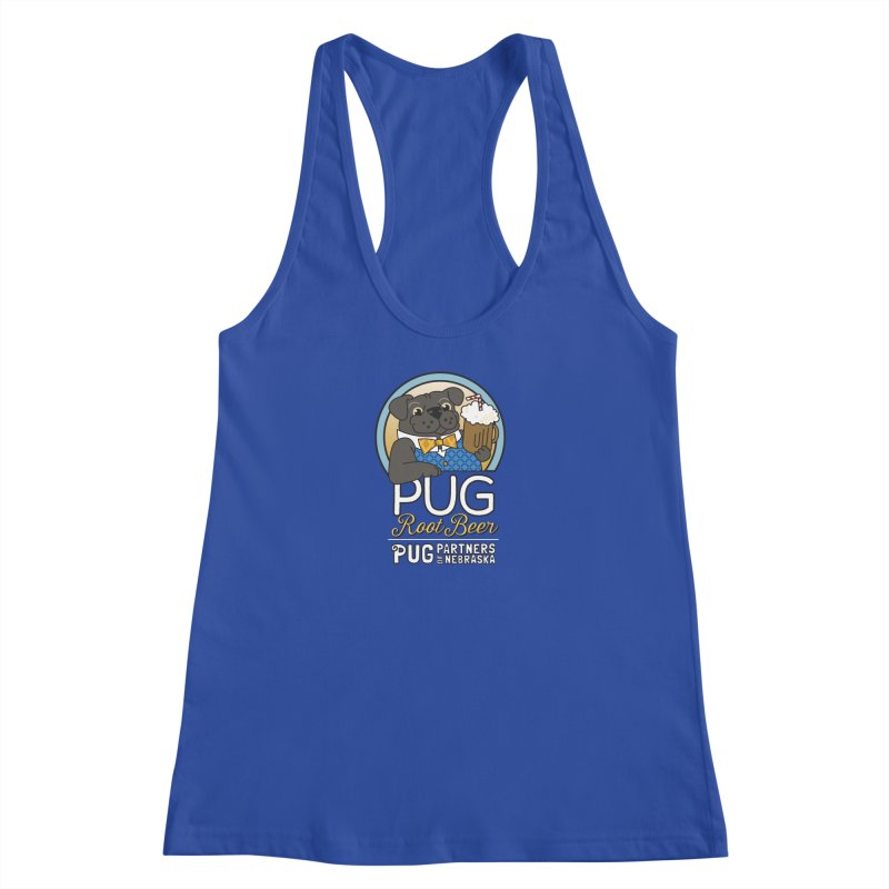 Pug Root Beer - Blue Women's Racerback Tank by Pug Partners of Nebraska