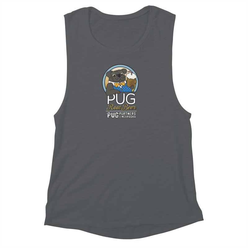 Pug Root Beer - Blue Women's Muscle Tank by Pug Partners of Nebraska