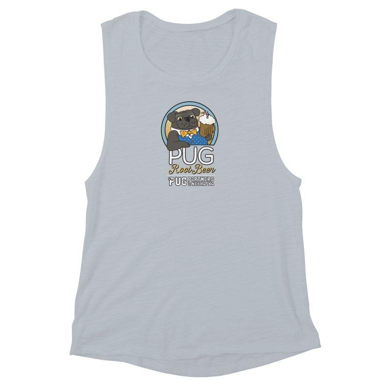 Pug Root Beer - Blue Women's Muscle Tank by Pug Partners of Nebraska