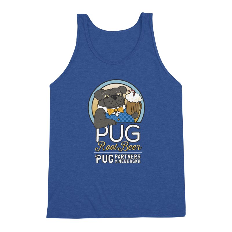 Pug Root Beer - Blue Men's Triblend Tank by Pug Partners of Nebraska