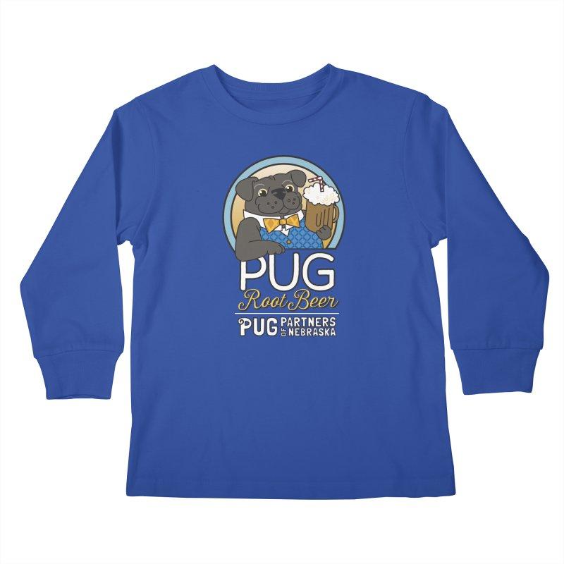 Pug Root Beer - Blue Kids Longsleeve T-Shirt by Pug Partners of Nebraska