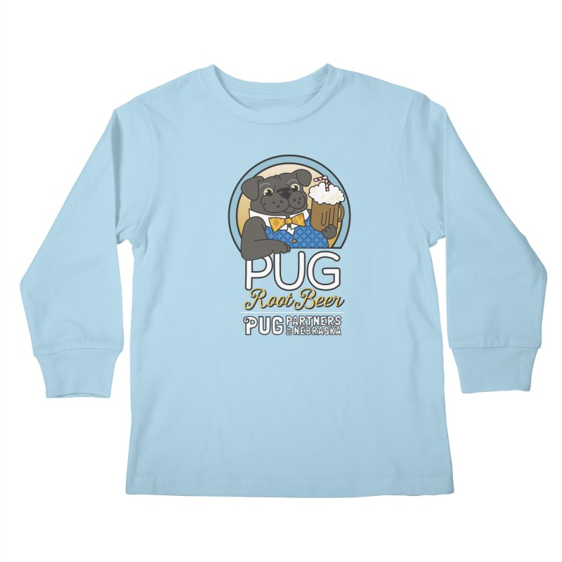 Pug Root Beer - Blue Kids Longsleeve T-Shirt by Pug Partners of Nebraska