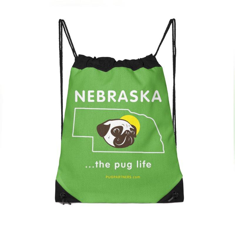Nebraska: The Pug Life Accessories Drawstring Bag Bag by Pug Partners of Nebraska