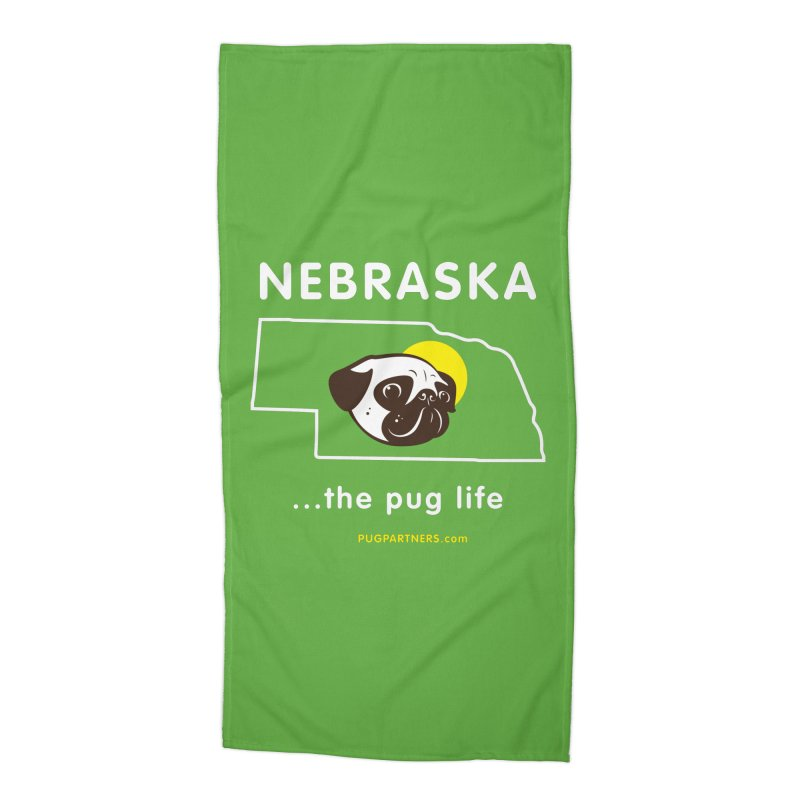 Nebraska: The Pug Life Accessories Beach Towel by Pug Partners of Nebraska