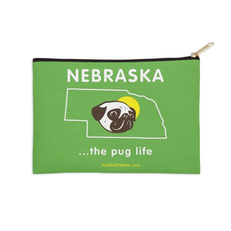 Nebraska: The Pug Life Accessories Zip Pouch by Pug Partners of Nebraska