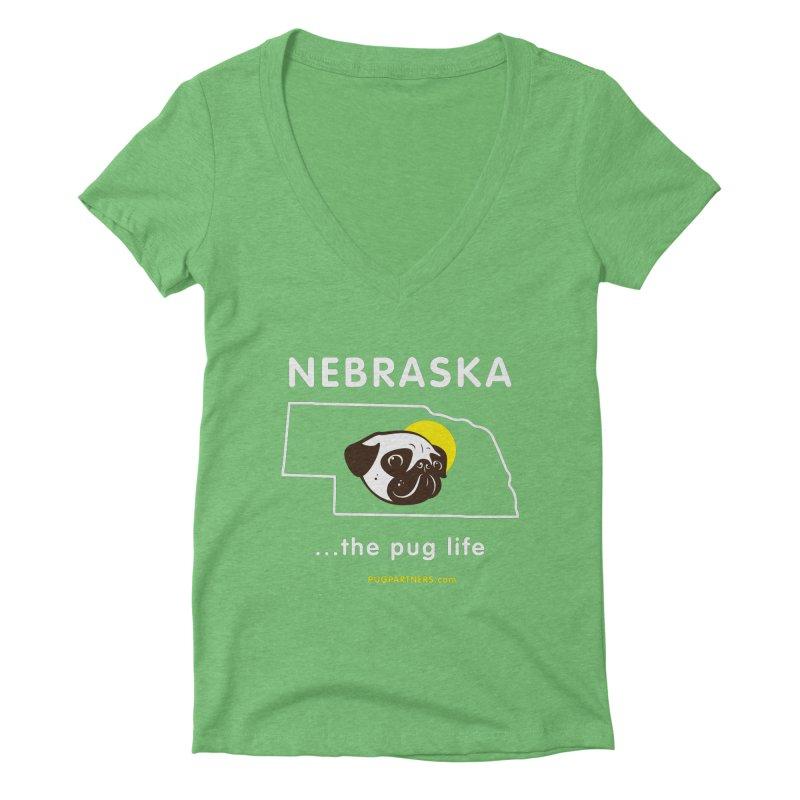 Nebraska: The Pug Life Women's Deep V-Neck V-Neck by Pug Partners of Nebraska