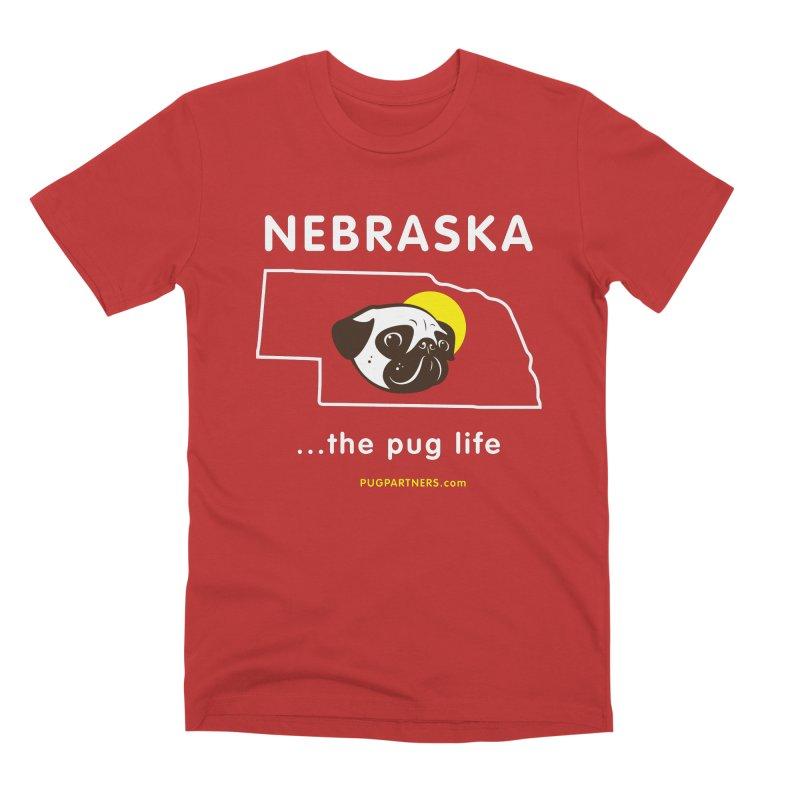 Nebraska: The Pug Life Men's Premium T-Shirt by Pug Partners of Nebraska