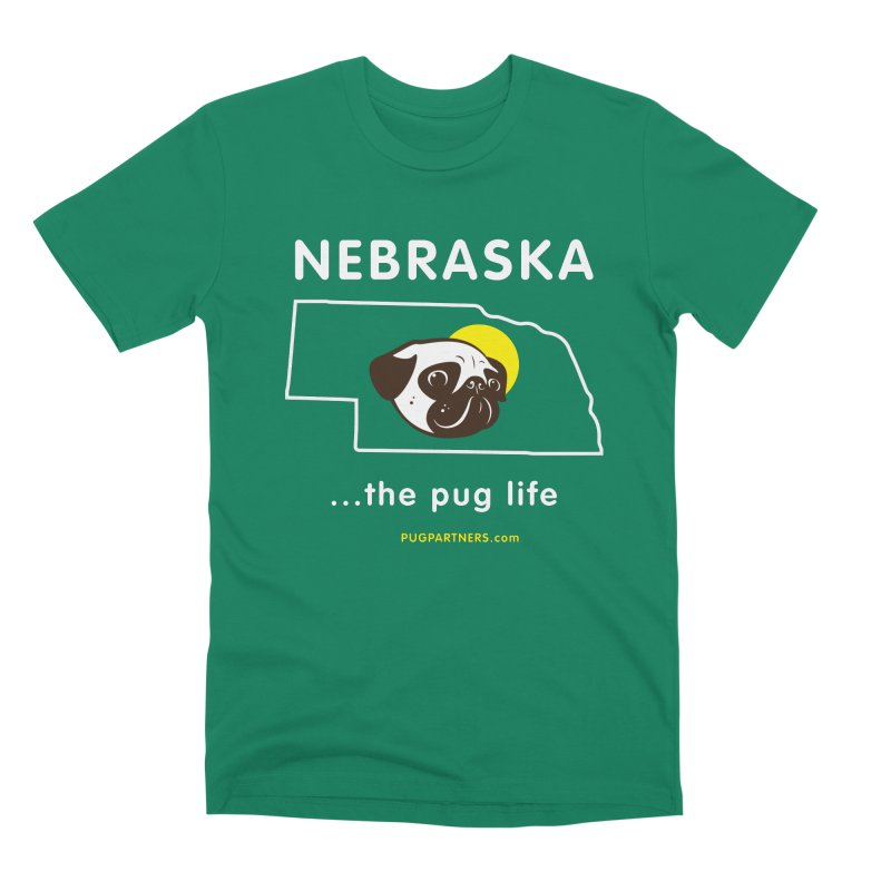 Nebraska: The Pug Life Men's Premium T-Shirt by Pug Partners of Nebraska