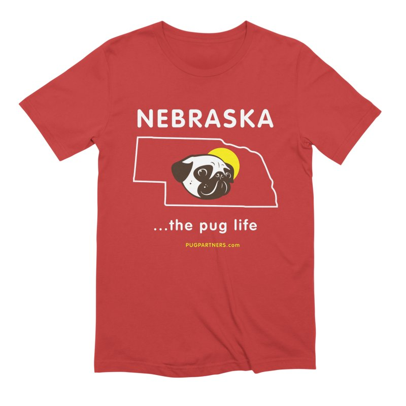 Nebraska: The Pug Life Men's Extra Soft T-Shirt by Pug Partners of Nebraska