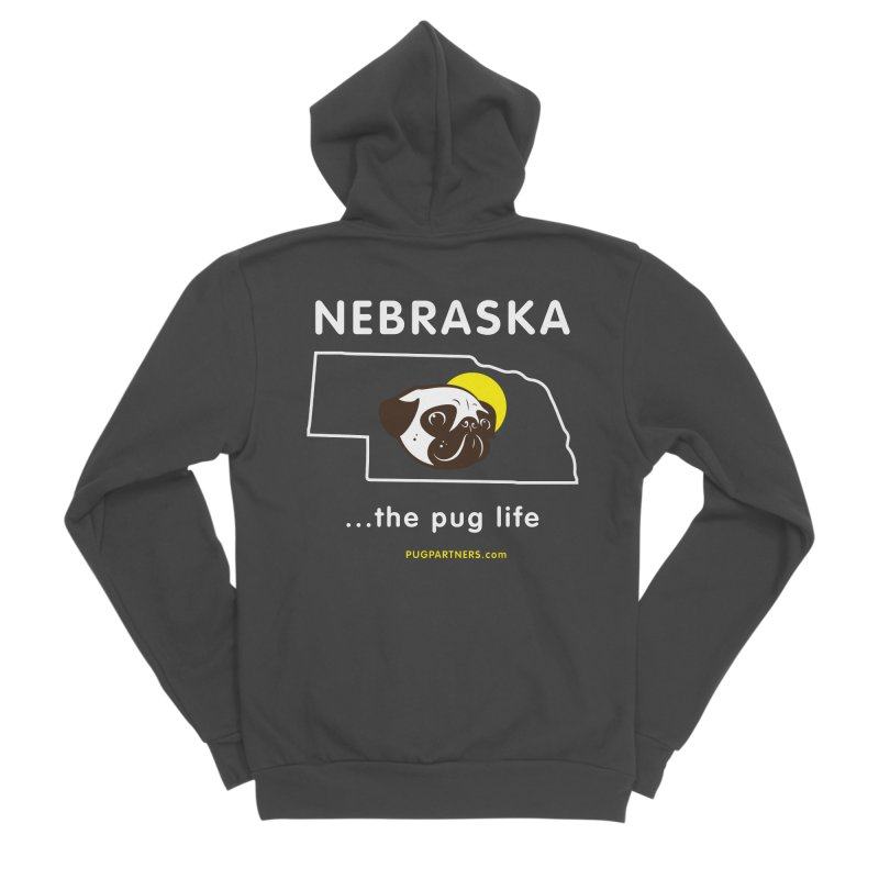 Nebraska: The Pug Life Men's Sponge Fleece Zip-Up Hoody by Pug Partners of Nebraska