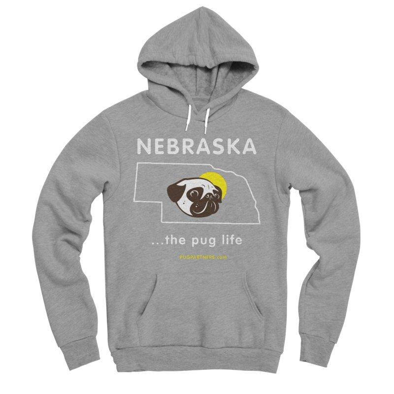 Nebraska: The Pug Life Men's Sponge Fleece Pullover Hoody by Pug Partners of Nebraska