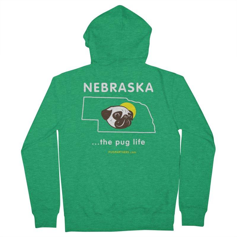 Nebraska: The Pug Life Men's Zip-Up Hoody by Pug Partners of Nebraska