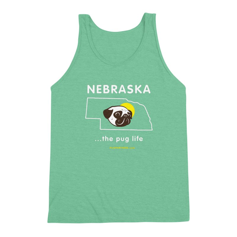 Nebraska: The Pug Life Men's Triblend Tank by Pug Partners of Nebraska