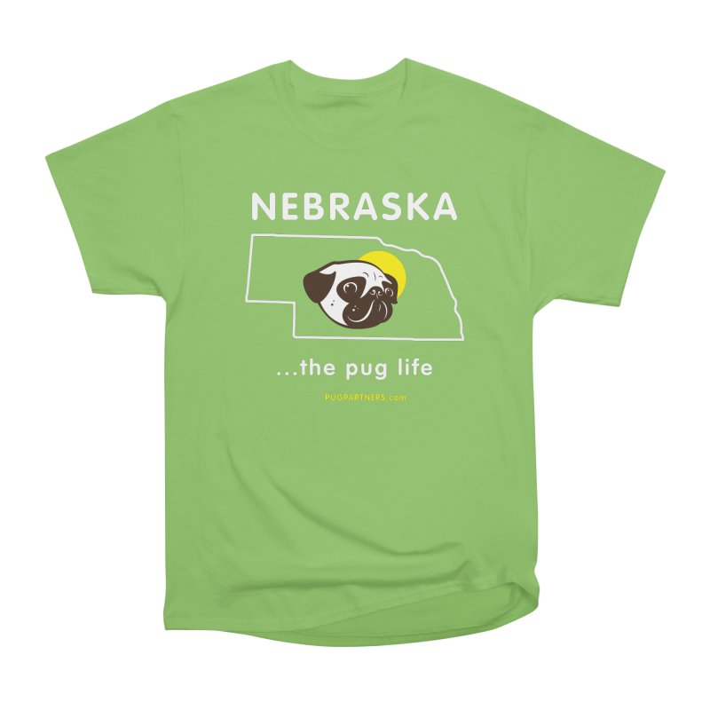 Nebraska: The Pug Life Men's Heavyweight T-Shirt by Pug Partners of Nebraska
