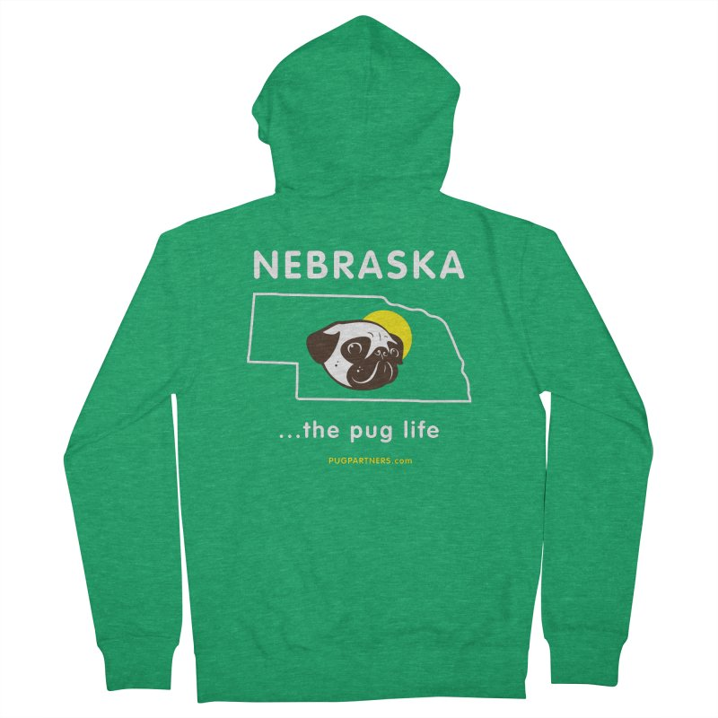 Nebraska: The Pug Life Men's French Terry Zip-Up Hoody by Pug Partners of Nebraska