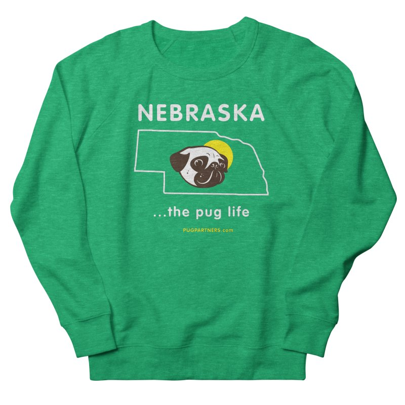 Nebraska: The Pug Life Men's French Terry Sweatshirt by Pug Partners of Nebraska