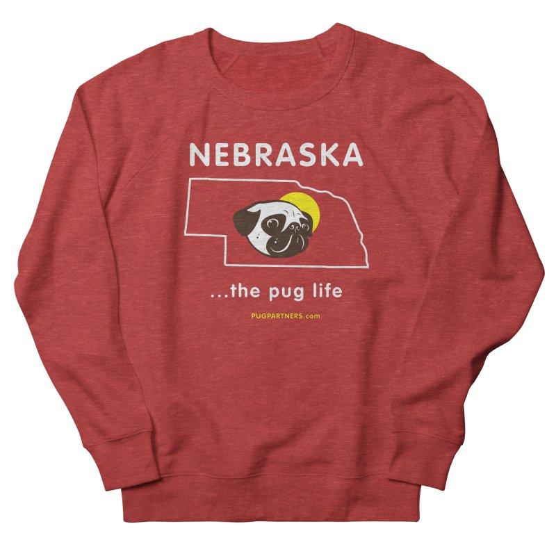 Nebraska: The Pug Life Men's French Terry Sweatshirt by Pug Partners of Nebraska